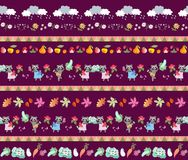 Free Harvesting. Seamless Striped Pattern With Cute Cartoon Characters. Little Raccoons, Clouds, Autumn Leaves, Fruits And Vegetables. Royalty Free Stock Photo - 123428045