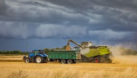 Harvesting under a very stormy looking sky. Farmers trying to beat the rain while harvesting under a stormy looking sky. Combine harvester discharging it`s load royalty free stock images