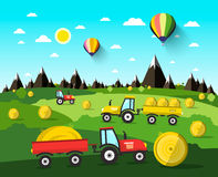 Free Harvesting Vector Landscape With Hay Balls Stock Photography - 85838982