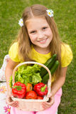 Harvests of vegetables - smiling girl with basket of vegetables Royalty Free Stock Image