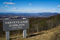 Harvey's Knob Overlook, Milepost 95.3. Harvey Knob Overlook is a popular overlook for birders to view thousands of hawks migrating down the Blue Ridge royalty free stock images
