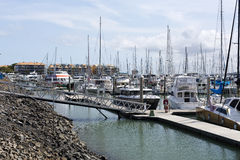Harvey Bay Marina. View of the Great Sandy Straits Marina, located on the Northern end of Urangan harbour in Hervey Bay, Australia Stock Photo