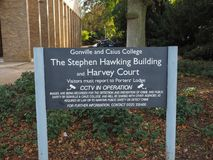 Harvey Court at the Gonville and Caius College near Stephen Hawking building. CAMBRIDGE, UK - CIRCA OCTOBER 2018: Harvey Court at the Gonville and Caius College stock images
