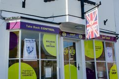 UKIP Office frontage in Harwich. Harwich Essex United Kingdom -16 November 2017: UKIP Office frontage in Harwich Royalty Free Stock Images