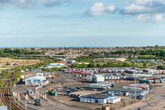 Port of Harwich, Essex, England, United Kingdom. Harwich, United Kingdom - May 23, 2017: View from the ship to parking, warehouses and infrastructure in the port Royalty Free Stock Photos