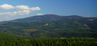Landscape panorama view of Mount Brocken, the highest peak of the Harz mountains, Saxony-Anhalt, Germany. royalty free stock image