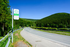 Harz road and bus stop Royalty Free Stock Photo