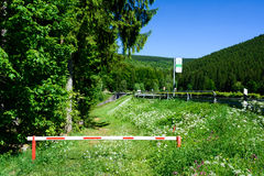 Harz road and bus stop landscape Royalty Free Stock Photo