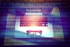 Hasło ochraniający nazwa użytkownika na komputerze obraz royalty free