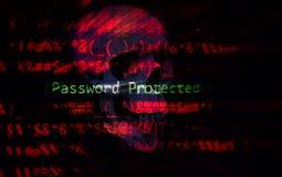 Hasło ochrony cyber złodzieja ochrony weryfikacji system danych, hasło/ochranialiśmy siekać zdjęcie royalty free