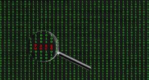 Hasło znajdujący wśród binarnego komputerowego kodu Fotografia Royalty Free