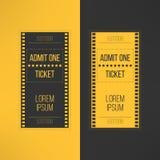 Hasłowy kinowy bilet w ekranowego materiału filmowego stylu przyznaje Obraz Stock
