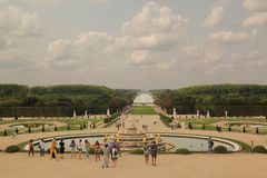 Versailles,Paris,France - August 26,2017: Beautiful large view of palace in a summer day royalty free stock photography