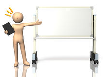 He has a commentary eagerly in front of the white board. This is a computer generated image,on white background Royalty Free Stock Photography