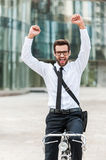 He has great mood this morning. Stock Images