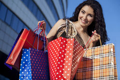 She has a lot of shopping Royalty Free Stock Photos