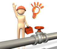 He has a maintenance of the pipeline. Royalty Free Stock Images