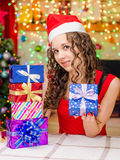 She has prepared gifts for loved ones Royalty Free Stock Photography