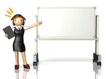 She has a presentation,using a whiteboard. Stock Photography