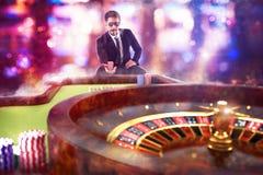 hasardspelare för tolkning som 3D spelar rouletten Royaltyfri Bild