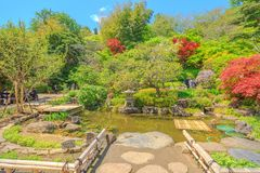 Hase-Dera garden Kamakura. Kamakura, Japan - April 23, 2017: smaller flowering garden with a pond near the Kannon-do hall in a sunny day with blue sky. Hase-dera Stock Photography