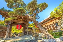 Hase dera Gate. Kamakura, Japan - April 23, 2017: main gate entrance of Hase-dera Temple or Hase-kannon, one of Buddhist temples in Kamakura, Kanagawa Prefecture Royalty Free Stock Image