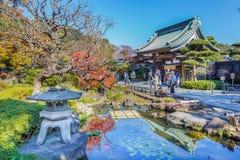 Hasedera寺庙在KamakuraKAMAKURA,日本- 11月24 :Hase 库存图片