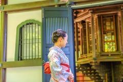 Hasedera kimono woman stock photo