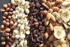 Haselnüsse, Acajounüsse, Rosinen, Mandeln und trockene Bananen Stockfotografie