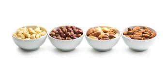 Haselnüsse, Mandeln, Acajoubaum und Paranüsse Lizenzfreies Stockfoto