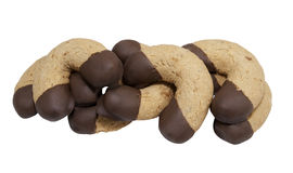 Haselnussplätzchen eingetaucht in Schokolade Stockbilder