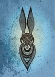 Hasen auf einem blauen Hintergrund stock abbildung