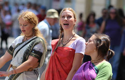 Hasen Krishna Followers Singing/Indien-Tage in Zagreb lizenzfreies stockbild