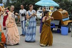 Hasen Krishna Hare Rama auf den Straßen Lizenzfreie Stockfotos