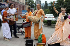 Hasen Krishna Hasen Rama auf den Straßen Stockfotos