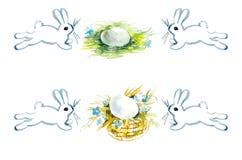 Hasen und Eier Aquarell-Handzeichnungsillustration lizenzfreie abbildung