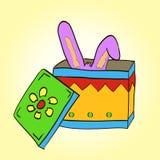 Hasenohrstock aus dem magischen Kasten heraus Stockbilder