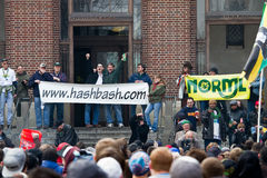 Hash Bash. Thousands of people - young and old - crowded into the Diag at the University of Michigan in Ann Arbor, Michigan, for the 40th annual Hash Bash on royalty free stock photo