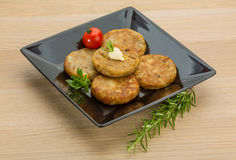 Hash brown. With cream and herbs royalty free stock image