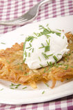 Hash brown with soft cheese Stock Images