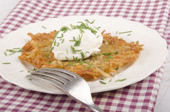 Hash brown with soft cheese Royalty Free Stock Photo
