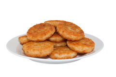 Hash browns. On white plate. Image is isolated on white background, contains clipping path stock image