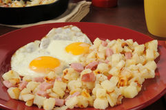 Hash browns and eggs Royalty Free Stock Photos