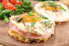 Hash browns with fried egg Stock Image