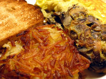 Hash Browns and Mushroom Omelet. This is a close up image of hash browns, a mushroom omelet, and toast royalty free stock images