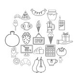 Hash house icons set, outline style. Hash house icons set. Outline set of 25 hash house vector icons for web isolated on white background stock illustration