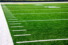 Hash Marks on Football Field. Hash marks to the end zone on an American Football Field stock photography
