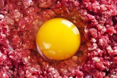 Hash with raw egg Royalty Free Stock Photography