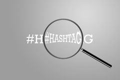 Hash-Tag-Magnifying Glass - Isolated Royalty Free Stock Images