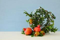 Hashanah de Rosh y x28; holiday& x29 del Año Nuevo del jewesh; concepto - granada Símbolo tradicional Fotos de archivo libres de regalías